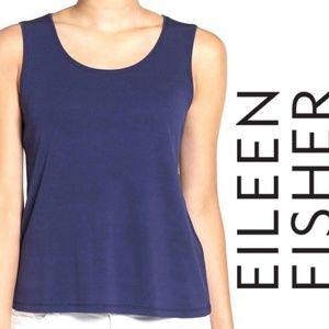 Eileen Fisher Blue Silk Jersey Sleeveless Tank Top